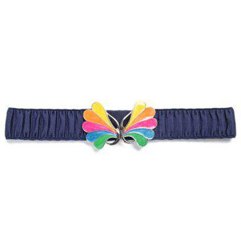 Chic Colorful Buckle and Ruffle Design Solid Color Women's Elastic Waistband