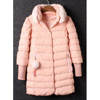 Ladylike Pink Detachable Stand Collar Long Sleeve Coat For Women
