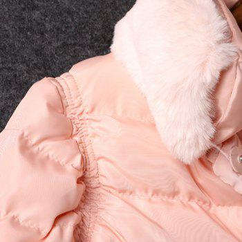Ladylike Pink Detachable Stand Collar Long Sleeve Coat For Women - PINK L