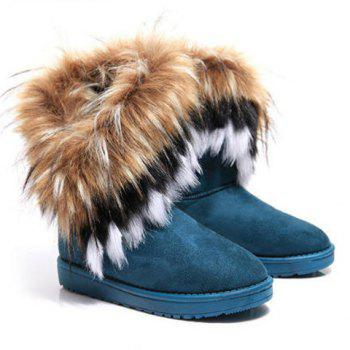 Faux Fur Ankle Boots - BLUE 39
