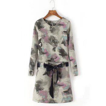 Refreshing Floral Print Round Collar Lace-Up Long Sleeve Dress For Women