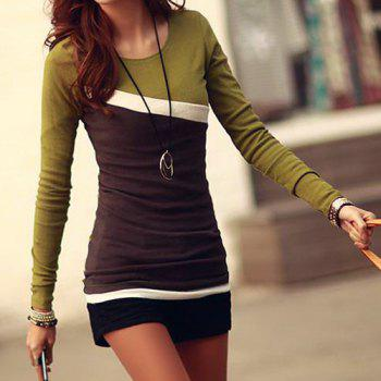 Stylish Scoop Neck Color Block Long Sleeve T-Shirt For Women - GREEN GREEN