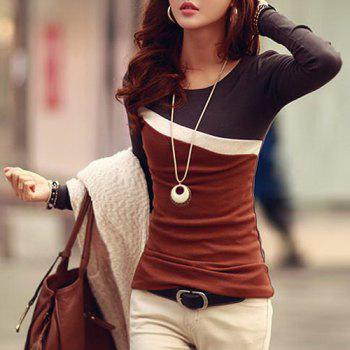 Stylish Scoop Neck Color Block Long Sleeve T-Shirt For Women - DUN DUN
