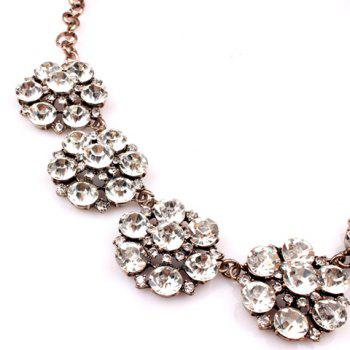 Chic Luxurious Women's Rhinestone Solid Color Flower Necklace - AS THE PICTURE