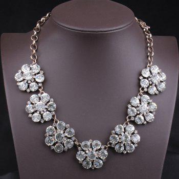 Chic Luxurious Women's Rhinestone Solid Color Flower Necklace