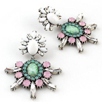Pair of Dolce Faux Gem Flower Women's Earrings - AS THE PICTURE