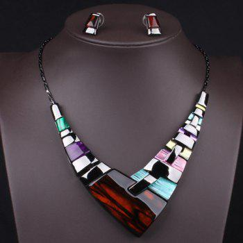 A Suit of Faux Gem Geometric Necklace and Earrings