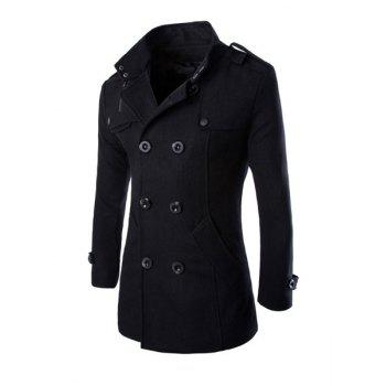 Trendy Stand Collar Shoulder Strap Embellished Slimming Solid Color Long Sleeves Men's Coat - BLACK XL