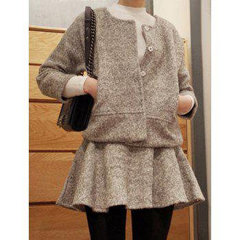 Sweet Gray Round Collar Long Sleeve Worsted Coat and Skirt Twinset For Women