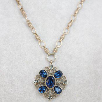 Chic Retro Women's Rhinestone Square Flower Pendant Sweater Chain Necklace - COLOR ASSORTED COLOR ASSORTED
