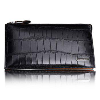Trendy Style Crocodile Print and Zipper Design Wallet For Men