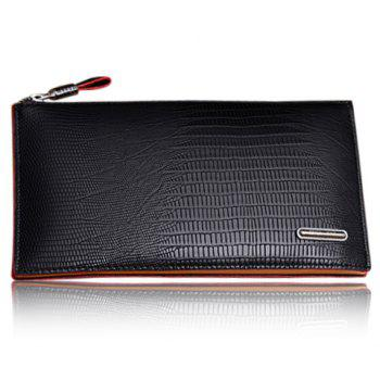 Trendy Style Zipper and Crocodile Print Design Wallet For Men - BLACK BLACK
