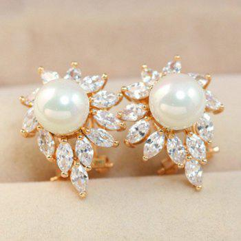 Pair of Stylish Chic Women's Rhinestone Faux Pearl Design Earrings - COLOR ASSORTED