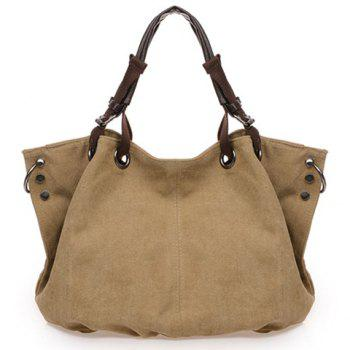 Casual Rivets and Canvas Design Tote Bag For Women - COFFEE COFFEE