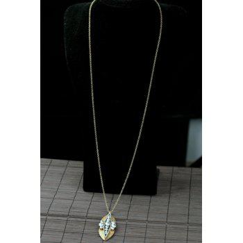 Delicate Fashionable Women's Rhinestone Leaf Pendant Sweater Chain Necklace - GOLDEN GOLDEN