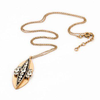 Delicate Fashionable Women's Rhinestone Leaf Pendant Sweater Chain Necklace -  GOLDEN