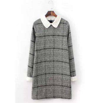 Elegant Plaid Peter Pan Collar Long Sleeve Worsted Dress For Women