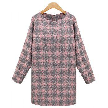 Round Neck Plaid Elegant Style Long Sleeve Dress For Women - PINK M