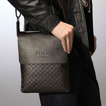 Fashionable PU Leather and Checked Design Messenger Bag For Men - BLACK