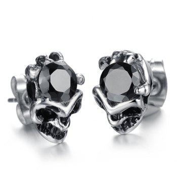 Pair of Chic Stylish Rhinestone Decorated Skull Earrings For Men