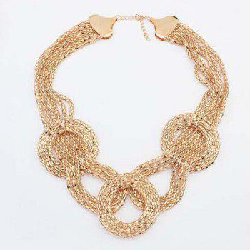 Gold Plated Round Necklace - GOLDEN