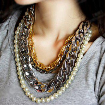 Fashionable Chic Women's Layered Link Faux Pearl Sweater Chain Necklace