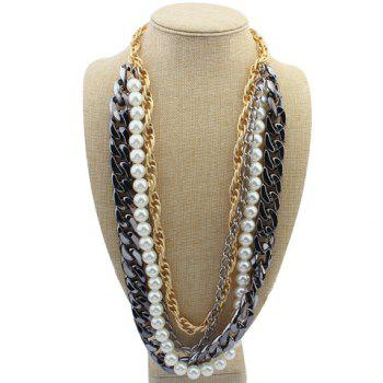 Fashionable Chic Women's Layered Link Faux Pearl Sweater Chain Necklace - COLORMIX