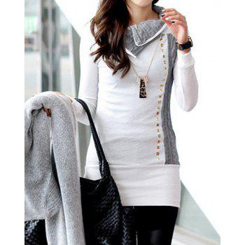 Stylish Rivet Embellished Turn-Down Collar Long Sleeve T-Shirt For Women