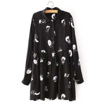Cute Cartoon Print Polo Collar Long Sleeve Dress For Women
