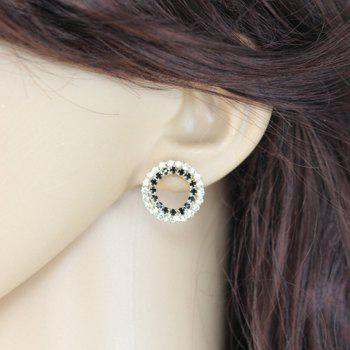 Pair of Rhinestone Openwork Circle Shape Stud Earrings