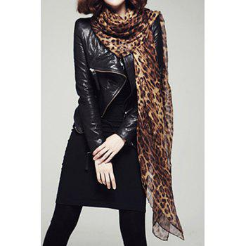 Chic Leopard Print Color Block Women's Voile Scarf