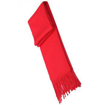 Chic Tassel Embellished Red Color Women's Scarf - RED