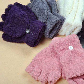 Pair of Sweet Exposed Fingers Design Solid Color Downy Gloves For Women - COLOR ASSORTED