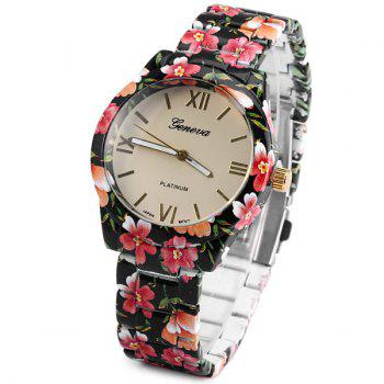 Geneva Female Quartz Wrist Watch Round Dial Flower Ceramic Watchband