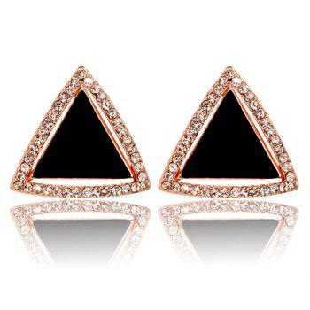 Pair of Chic Women's Rhinestone Inlaid Triangle Shape Design Earrings