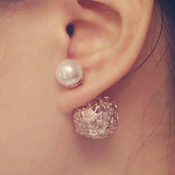 Pair of Openwork Rose Rhinestone Faux Pearl Design Earrings