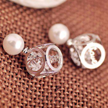 Pair of Openwork Love Faux Pearl Design Earrings - WHITE GOLDEN