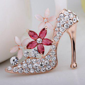 Flower Rhinestone Embellished High-Heeled Shoe Shape Brooch