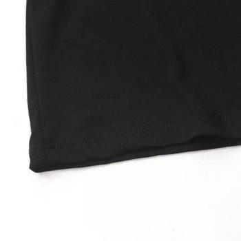 Round Neck Sequins Figure Pattern Casual Style 3/4 Sleeve T-Shirt For Women - BLACK BLACK