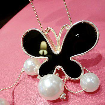 Chic Delicate Women's Rhinestone Faux Pearl Butterfly Pendant Design Sweater Chain Necklace -  COLORMIX