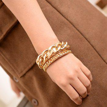 Pair of Stylish Chic Women s Solid Color Link Bracelets