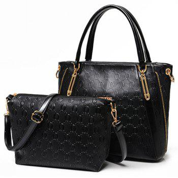Graceful Metallic and Embossing Design Tote Bag For Women - BLACK BLACK