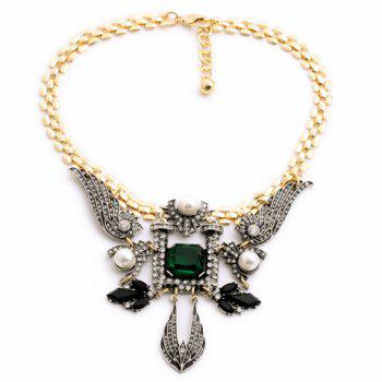 Trendy Faux Pearl Decorated Angel Wing Shape Pendant Sweater Chain Necklace For Women - COLORMIX COLORMIX