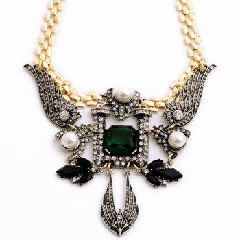 Trendy Faux Pearl Decorated Angel Wing Shape Pendant Sweater Chain Necklace For Women -  COLORMIX