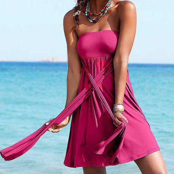 Sexy Strapless Solid Color Beachwear For Women - PLUM PLUM