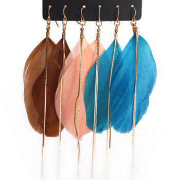 3 Pairs of Retro Chic Women's Feather Design Earrings