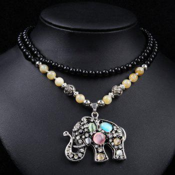 Chic Women's Rhinestone Faux Opal Elephant Pendant Designed Sweater Chain Necklace - COLORMIX COLORMIX