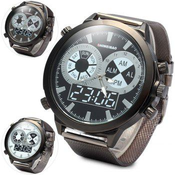 SHIWEIBAO A1052 Male Quartz Watch with Round Dial Steel Watchband - BLACK BLACK