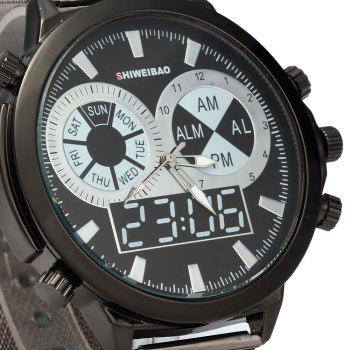 SHIWEIBAO A1052 Male Quartz Watch with Round Dial Steel Watchband - BLACK