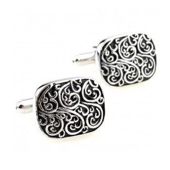 Pair of Retro Style Stereo Carve Design Men's Alloy Cufflinks - SILVER SILVER